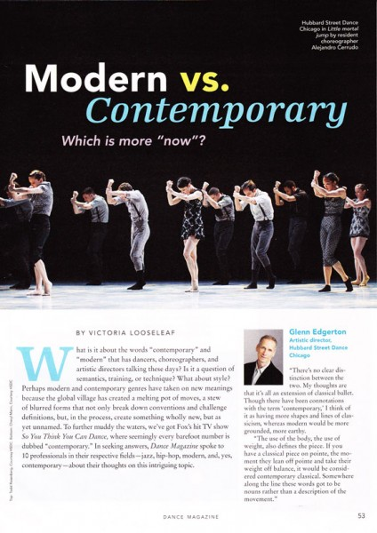 Dance Magazine 2012 | Modern vs. Contemporary Ft. Jennifer Archibald